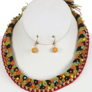 Jewelry - Braided Yard Bib Necklace Earring Set Red Trim